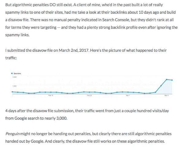 Case Study của Michael Cottam vào tháng 3 năm 2017 – Disavow backlink