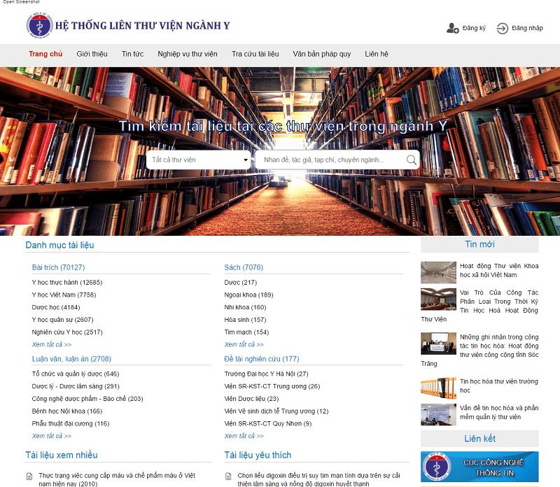 Hệ thống website Liên thư viện Ngành Y